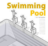 Swimming pool with swimmers, isometric. Sportsmen on springboard prepare swim. Stock Photos
