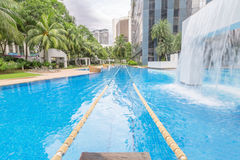 Swimming pool with swimming path Royalty Free Stock Photo
