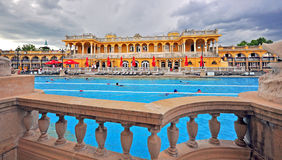 Swimming pool of the Szechenyi Medicinal thermal Bath in Budapes Royalty Free Stock Image