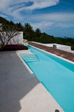Swimming pool terrace. Sea view swimming pool terrace Stock Photos