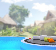 Swimming Pool And Terrace Of Blur Exterior Background Royalty Free Stock Photo