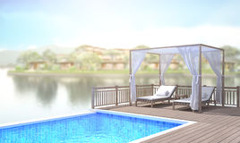 Swimming Pool And Terrace Of Blur Exterior Background Royalty Free Stock Image