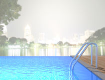 Swimming Pool And Terrace Of Blur Exterior Background Royalty Free Stock Images