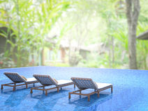 Swimming Pool And Terrace Of Blur Nature Background Royalty Free Stock Photography