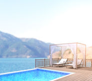 Swimming Pool And Terrace Of Blur Nature Background Stock Photo