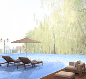 Swimming Pool And Terrace Of Blur Nature Background Royalty Free Stock Photo