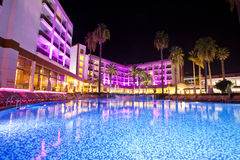 Swimming pool in the territory hotel at night.  Marmaris. Turkey Stock Photography