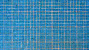 Swimming pool texture. Blue square tiles of a swimming pool porcelain wall Royalty Free Stock Photos