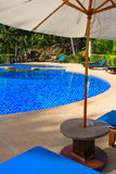 Swimming pool in Thailand. Luxurious swimming pool in a tropical garden, island Koh Kood, Thailand stock photos