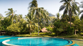 Swimming pool at thailand touristic resort Royalty Free Stock Photo