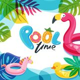 Swimming pool time. Flamingo, duck and unicorn float kids toys. Beach party vector poster, flyer, banner design template. Swimming pool time cute letters. Water stock illustration