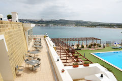 The swimming pool on the top of building of luxury hotel Royalty Free Stock Image