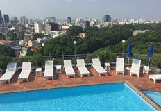 Swimming pool on the top of Diamond plaza in Saigon, Vietnam Royalty Free Stock Images