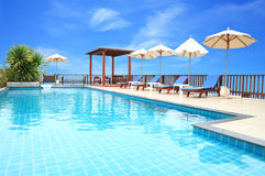 Swimming pool on top of roof deck Royalty Free Stock Photography