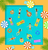 Swimming pool top view beach summer time scene with people. Men women children swimming, floating on inflatable mattress and rings Stock Images
