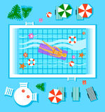 Swimming Pool in Top View with Outdoor Element. Vector Illustration Stock Photography