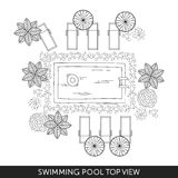 Swimming pool Top View. With outdoor elements. Landscape plan. Summer time Stock Photos