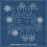 Swimming pool Top View. With outdoor elements. Landscape plan. Summer time Royalty Free Stock Images