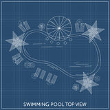 Swimming pool Top View. With outdoor elements. Landscape plan. Summer time Stock Images