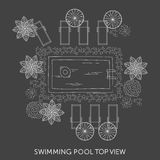 Swimming pool Top View. With outdoor elements. Landscape plan. Summer time Royalty Free Stock Photos