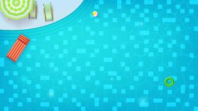 Free Swimming Pool Top View. Sunbed, Umbrella, Ring, Beach Ball Floating In Water. Summer Concert For Travel Events. Waves Stock Images - 121337034