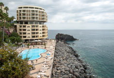 Swimming pool with tourists at Lido hotels zone in Funchal, Stock Photography