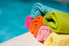 Swimming pool with towels Stock Image