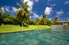 Swimming pool among tropical garden Royalty Free Stock Images