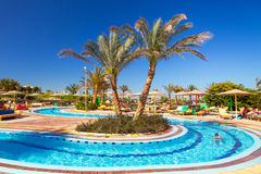 Swimming pool at tropical resort in Hurghada, Egypt Stock Image