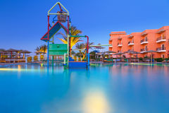 Swimming pool of tropical resort in Hurghada at night Stock Photo