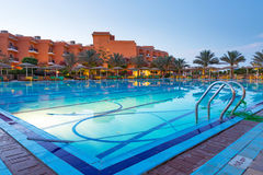 Swimming pool of tropical resort in Hurghada at night Stock Image