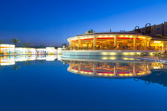 Swimming pool of tropical resort in Hurghada at night Stock Photos