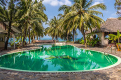 Swimming pool in tropical resort with palm trees. And sea on horizon Stock Photos