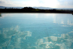 Swimming Pool in Tuscany. Swimming Pool at Villa in Buonconvento Italy royalty free stock images