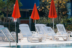 Swimming Pool with Umbrellas Royalty Free Stock Photos