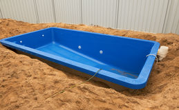 Swimming pool under construction. Royalty Free Stock Image