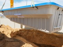 Swimming pool under construction.  Stock Image