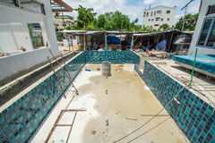 Swimming pool under construction Stock Photos