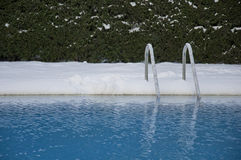Swimming pool under snow Stock Images