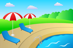 Swimming pool vacation deck chair umbrella landscape summer day illustration Stock Photos