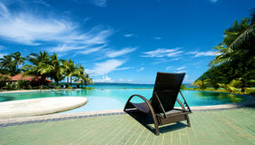 Swimming pool vacation resort with recliner in Boracay Stock Photo