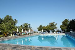 Swimming pool vacation scene Stock Photo