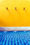 Swimming Pool in Valladolid. VALLADOLID, MEXICO - FEBRUARY 11: Fountains filling a swimming pool in Valladolid, Mexico on February 11, 2017 Stock Image