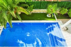 Swimming pool view from above. Clear water, with a beautiful pal Stock Images