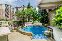 Swimming Pool. View of a swimming pool with apartments in the background royalty free stock image