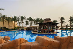 Swimming pool view in Egypt Royalty Free Stock Photo