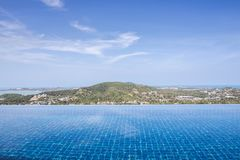 Swimming Pool View on mountain with clouds and blue sky. Infinity  Swimming Pool View on mountain with clouds and blue sky, aspirations, beauty, nature, building royalty free stock photos