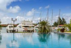 Swimming pool view at Warf marina, Seychelles, Mahe Stock Photo