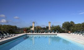 Swimming pool in a villa, Luberon, Provence, France Royalty Free Stock Photo