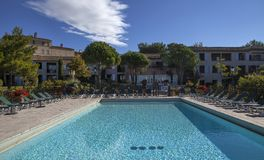 Swimming pool in a villa, Luberon, Provence, France Stock Photos